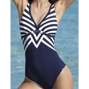 Sunflair Nautical New Line V Neck 1 Piece Swimsuit